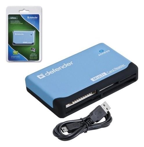 Картридер Defender Ultra, USB 2.0, порты SD, Mmc, TF, M2, CF, XD, MS, 83500  Defender