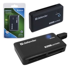 Картридер Defender Optimus USB 2.0, порты Sd/mmc, TF, M2, MC, CF, XD, 83501  Defender