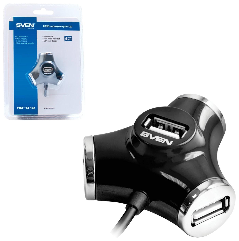 Хаб Sven Hb-012, USB 2.0, 4 порта, кабель 1,2 м, черный, Sv-008482  Sven