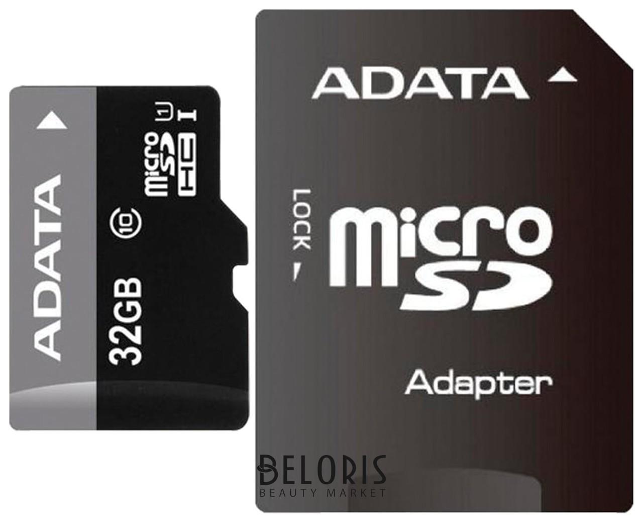 Карта памяти Micro Sdhc, 32 GB, A-data Premier, 50 мб/сек. (Class 10), с адаптером, Ausdh32guicl10 A-data