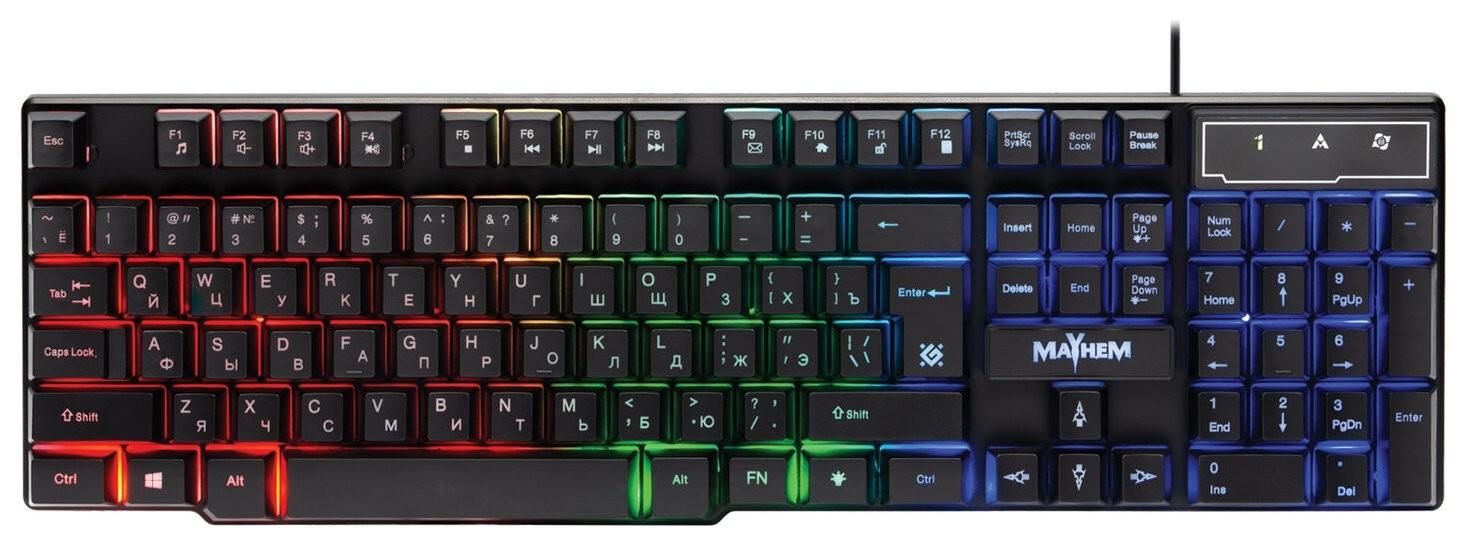 Клавиатура проводная игровая Defender Mayhem Gk-360dl, Usb, 104 клавиши, с подсветкой, черная, 45360  Defender