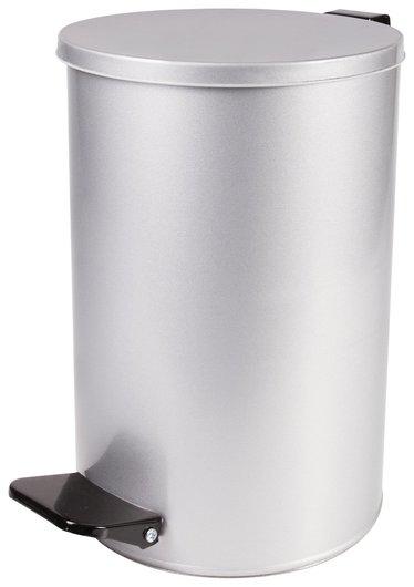 Ведро-контейнер для мусора с педалью усиленное, 10 л, кольцо под мешок, серое, оцинкованная сталь  NNB