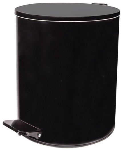 Ведро-контейнер для мусора с педалью усиленное, 15 л, кольцо под мешок, черное, оцинкованная сталь  NNB