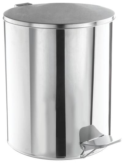 Ведро-контейнер для мусора с педалью усиленное, 15 л, кольцо под мешок, хром, нержавеющая сталь  NNB