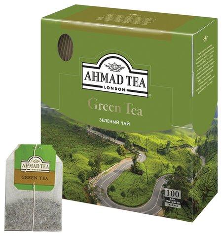 "Чай Ahmad (Ахмад) ""Green Tea"", зеленый, 100 пакетиков по 2 г, 478i-08  Ahmad Tea"