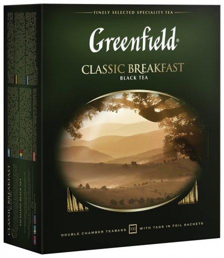 "Чай Greenfield (Гринфилд) ""Classic Breakfast"", черный, 100 пакетиков в конвертах по 2 г, 0582  Greenfield"