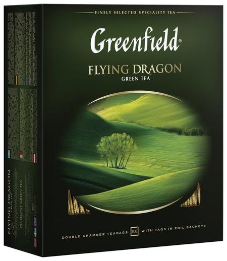 "Чай Greenfield (Гринфилд) ""Flying Dragon"", зеленый, 100 пакетиков в конвертах по 2 г, 0585  Greenfield"