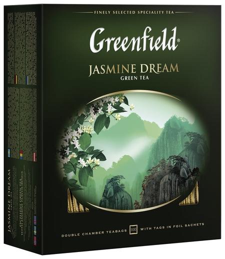 """Чай Greenfield (Гринфилд) """"Jasmine Dream"""" (""""жасминовый сон""""), зеленый с жасмином, 100 пакетиков в конвертах по 2 г, 0586-09  Greenfield"""