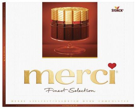Конфеты шоколадные из темного шоколада Merci  Merci