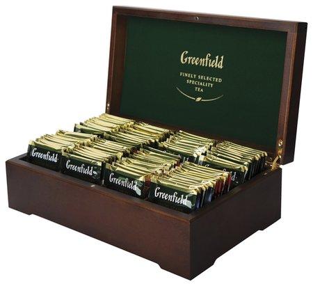 Чай в деревянной шкатулке набор 96 пакетиков 8 вкусов по 12 пакетиков  Greenfield