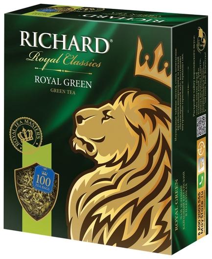 "Чай Richard (Ричард) ""Royal Green"", зеленый, 100 пакетиков по 2 г, 610150  Richard"