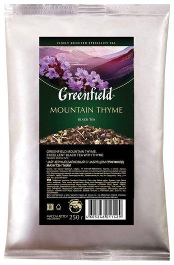 "Чай Greenfield (Гринфилд) ""Mountain Thyme"", черный с чабрецом, листовой, 250 г, пакет, 1142-15  Greenfield"