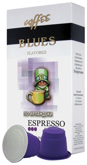 """Капсулы для кофемашин Nespresso, """"По-ирландски"""", натуральный кофе, Blues, 10 шт. х 5 г, 4600696101058"""