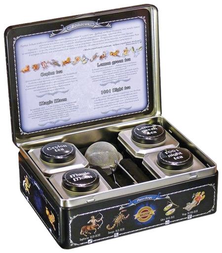 Чай коллекция листового чая и заварная ложка-ситечко в шкатулке Зодиак  Hilltop