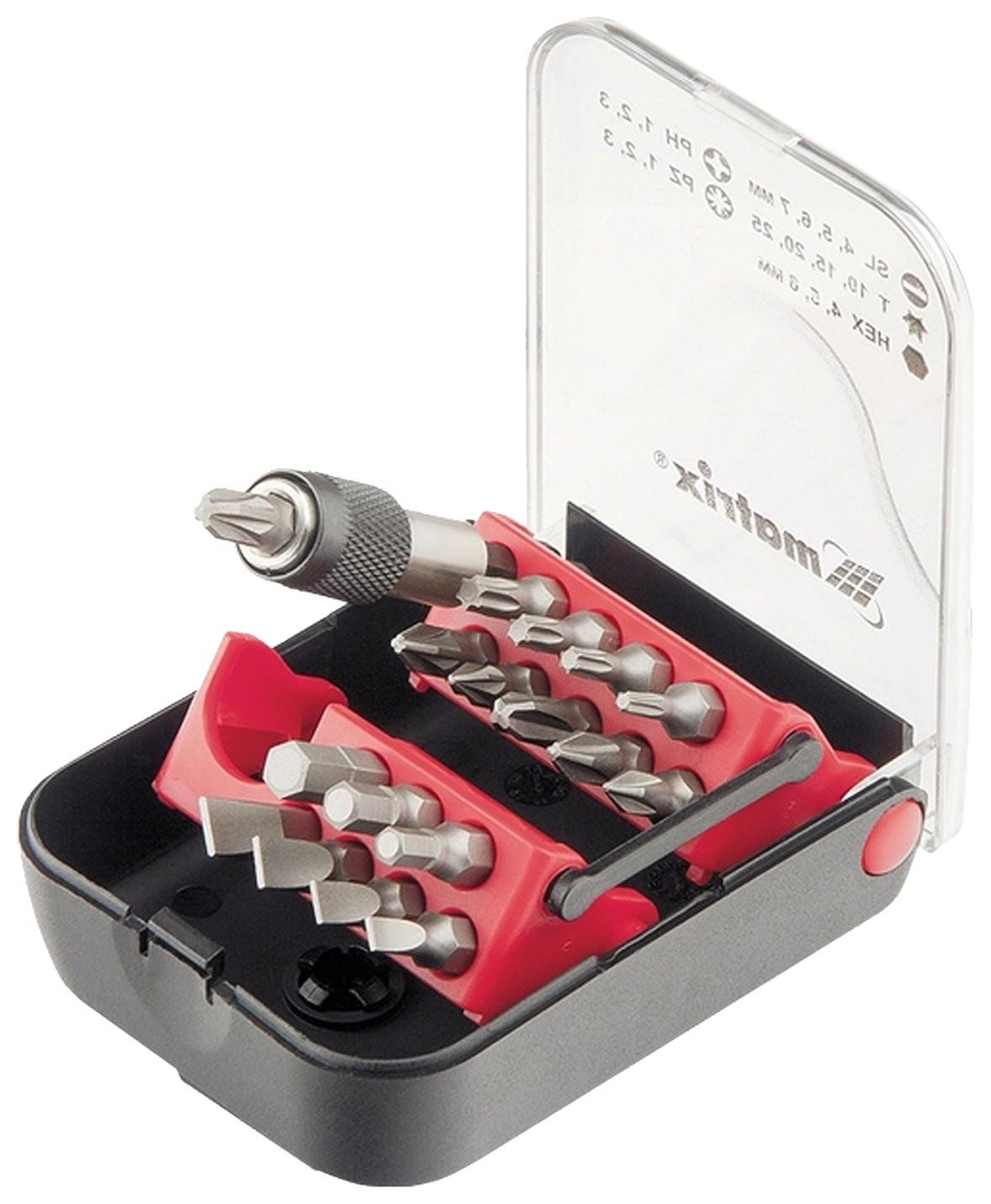 Набор бит, 18 предметов, Matrix, магнитный адаптер, пластиковый бокс, 11316  Matrix