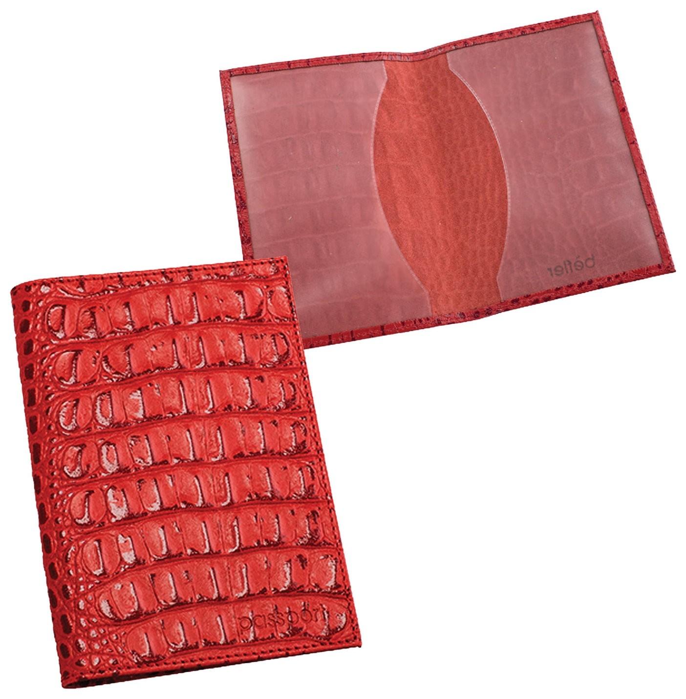 """Обложка для паспорта Befler """"Кайман"""", натуральная кожа, тиснение""""крокодил"""", красная, о.1-13красн  Befler"""