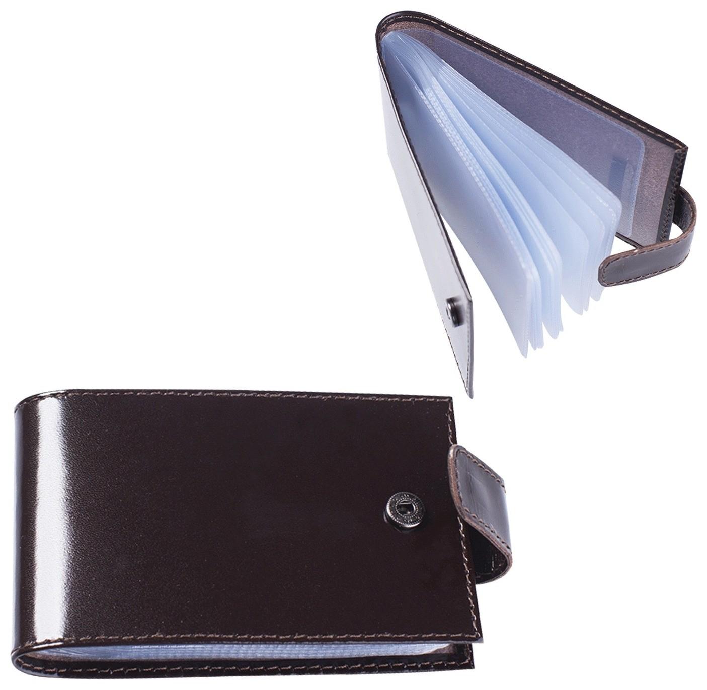 """Визитница карманная Befler """"Classic"""" на 40 визиток, натуральная кожа, кнопка, коричневая, V.31.-1  Befler"""