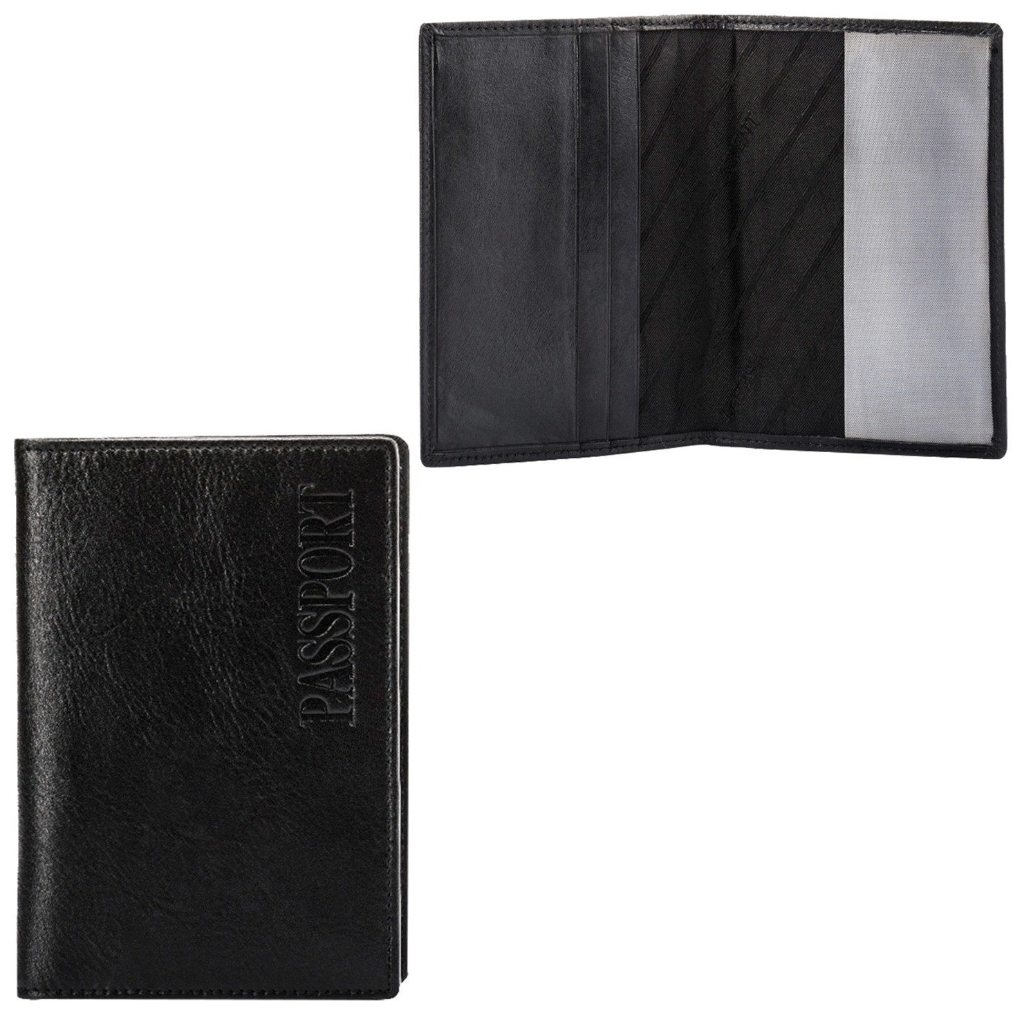 """Обложка для паспорта Fabula """"Estet"""", натуральная кожа, тиснение""""passport"""", черная, O.3.mn  Fabula"""