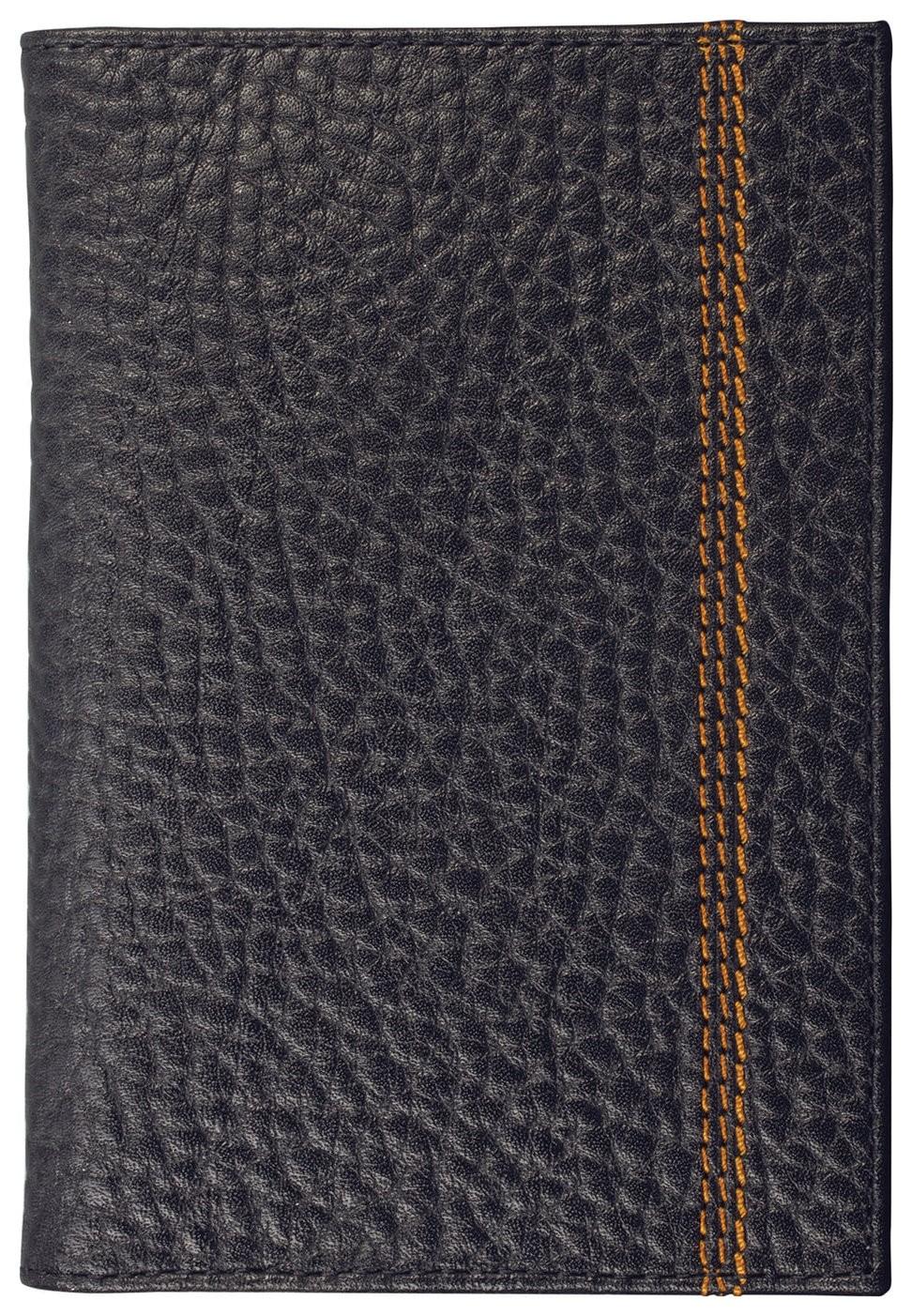 """Обложка для паспорта Fabula """"Brooklyn"""", натуральная кожа, контрастная отстрочка, черная, о.81.br  Fabula"""