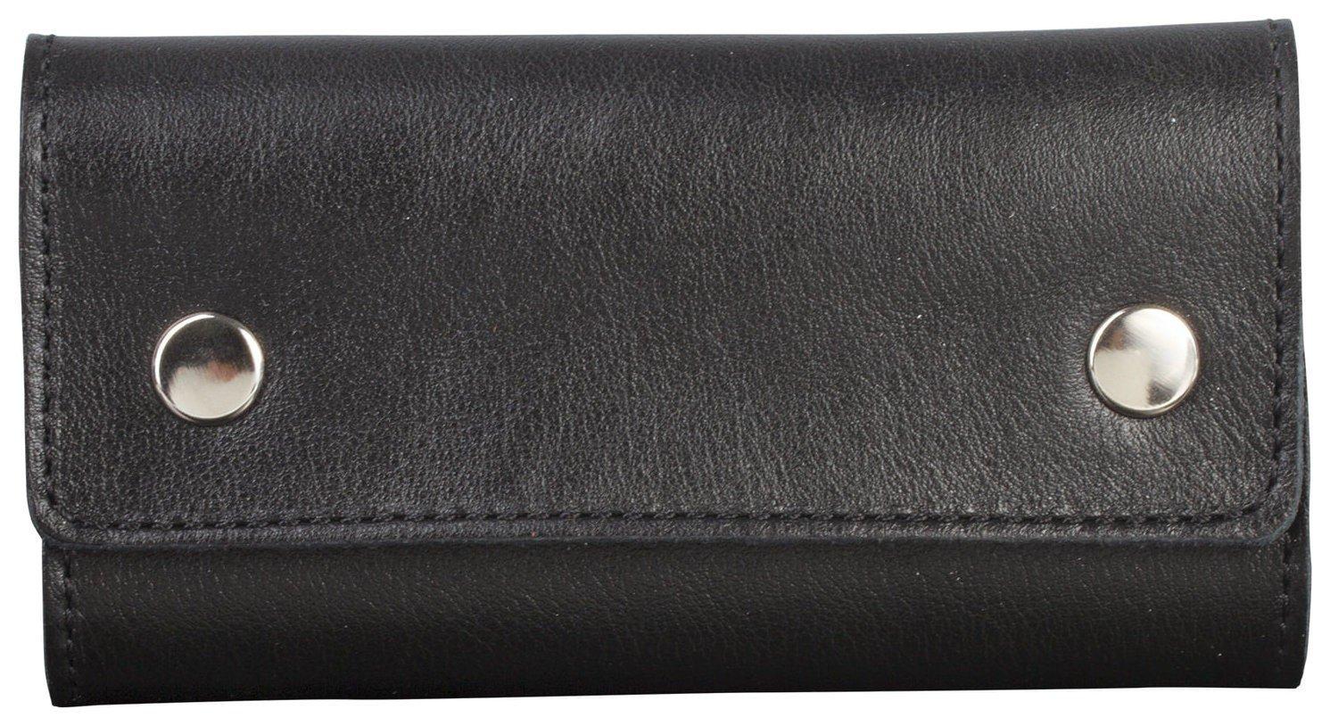 Футляр для ключей Fabula Estet, натуральная кожа, на кнопках, 60x110x25 мм, черный, Kl44.mn Fabula