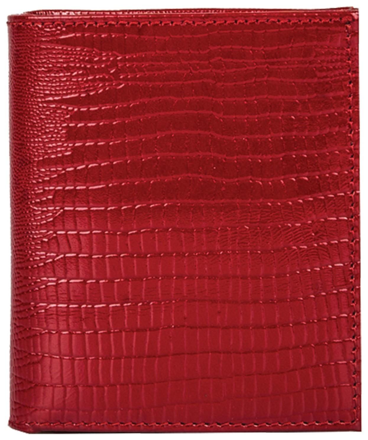 Портмоне женское Fabula, 90х100 мм, натуральная кожа, скрытая кнопка, ящерица, красное, Pj.177.кк  Fabula