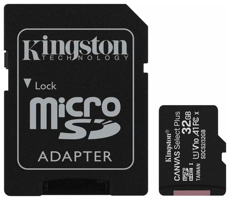 Карта памяти Microsdhc 32 GB Kingston Canvas Select Plus, Uhs-i U1, 100 мб/с (Class 10), адаптер, Sdcs2/32gb  Kingston