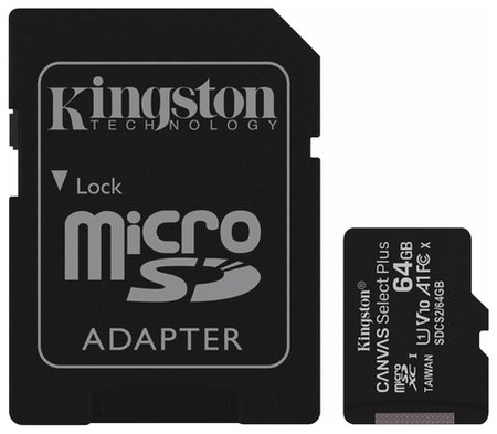 Карта памяти Microsdxc 64 GB Kingston Canvas Select Plus, Uhs-i U1, 100 мб/с (Class 10), адаптер, Sdcs2/64gb  Kingston