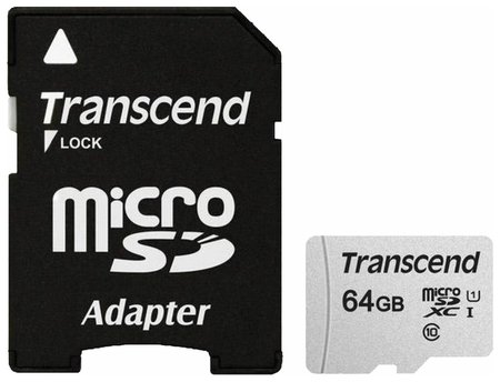 Карта памяти Microsdxc 64 GB Transcend Uhs-i U1, 95 мб/сек (Class 10), адаптер, Ts64gusd300s-a  Transcend