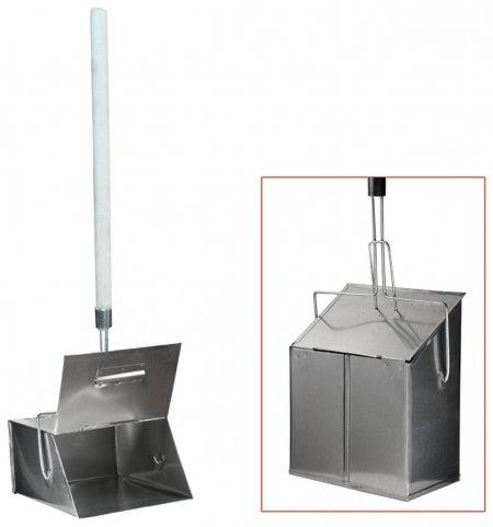 Совок для мусора металлический, с крышкой-ловушкой, 24х29 см, с деревянной ручкой 75 см  NNB
