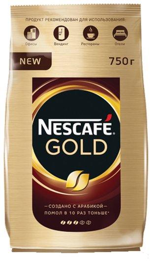 """Кофе молотый в растворимом Nescafe (Нескафе) """"Gold"""", сублимированный, 750 г, мягкая упаковка, 12146905  Nescafe"""