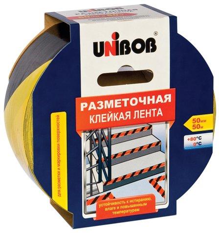 Клейкая лента разметочная 50 мм х 50 м, желто-черная, Unibob, основа-пвх, европодвес, 48905  Unibob