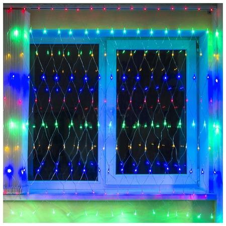 """Электрогирлянда светодиодная золотая сказка """"Сеть"""", 160 ламп, 1,5х1,5 м, многоцветная, контроллер, 591106  Золотая сказка"""
