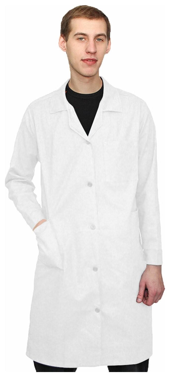 Халат рабочий мужской белый, бязь, размер 52-54, рост 182-188, плотность ткани 142 г/м2, 610726 NNB