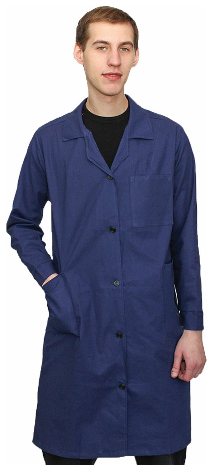 Халат рабочий мужской синий, бязь, размер 52-54, рост 182-188, плотность ткани 142 г/м2, 610824 NNB
