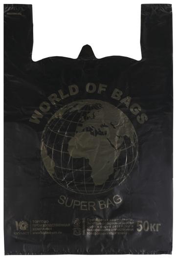 """Пакеты """"Майка"""", комплект 100 шт., 43+20х65 см, пнд,""""world"""", 30 мкм, черные, юпласт, юмай1071  Юпласт"""