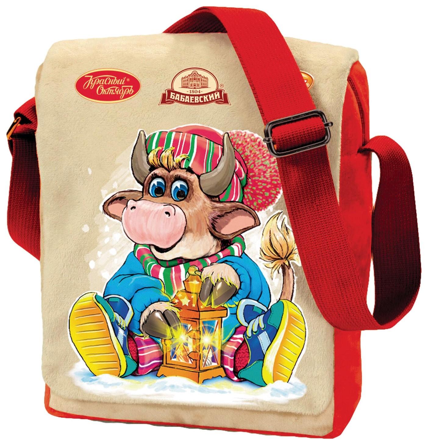 Подарок новогодний сумка Чемпион, 1000 г, набор конфет, мягкая игрушка, ок22397l101 Объединенные кондитеры