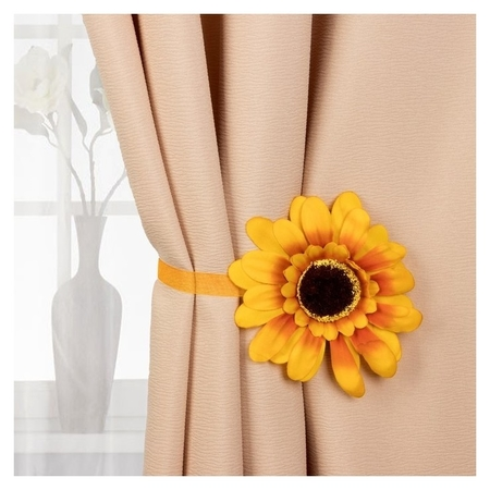 Подхват для штор «Подсолнух», D = 12,5 см, цвет жёлтый  NNB