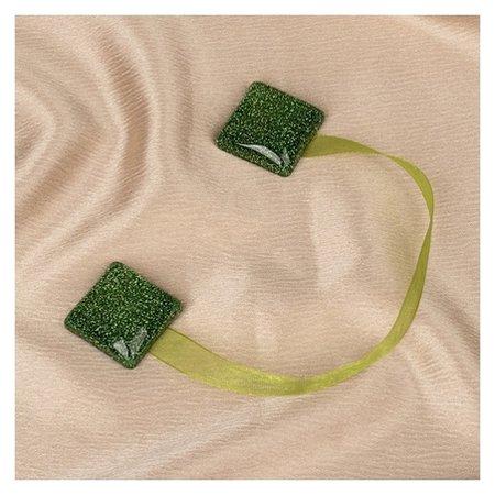 Подхват для штор «Квадрат блёстками», 3,5 × 3,5 см, цвет зелёный  Арт узор