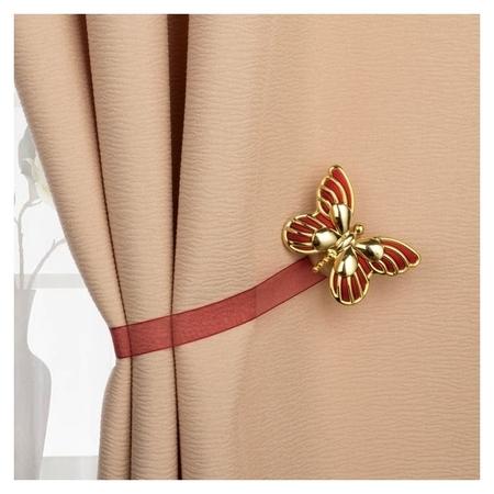 Подхват для штор «Бабочка», цвет золотой/бордовый  Арт узор