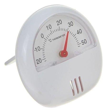 Термометр механический универсальный, крепление магнит, пластик белый, D 5.5 см LuazON