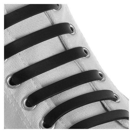 Набор шнурков для обуви, 6 шт, силиконовые, плоские, 13 мм, 9 см, цвет чёрный  Onlitop