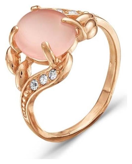 Кольцо позолота Кошачий глаз, цвет розовый, 18 размер Красная пресня