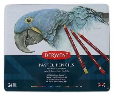 Пастель сухая художественная в карандаше, набор Derwent Pastel Hard 24 цвета, в металлической упаковке  Derwent