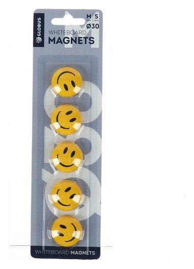 Магниты для досок «Смайлы» Globus, 5 шт., 30 мм, жёлтые  Globus