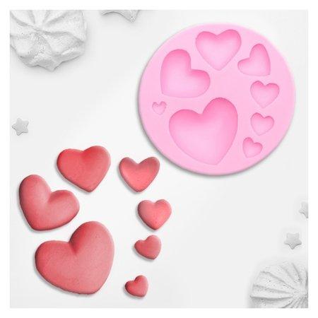 Молд силиконовый «Сердца», 7,5×7,5 см