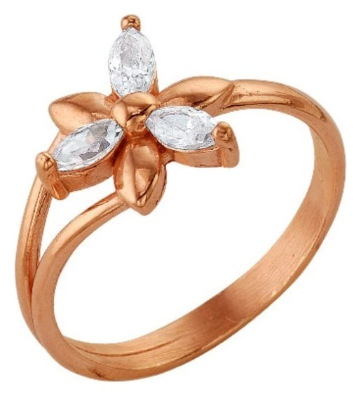 Кольцо позолота Цветок астра, 19,5 размер Красная пресня