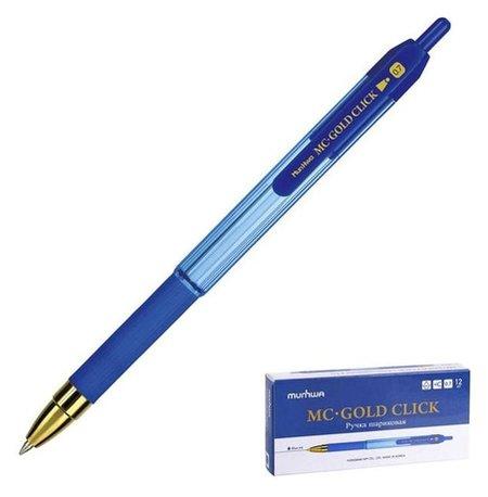 Ручка шариковая автоматическая Munhwa MC Gold Click, узел 0.7 мм, чернила синие, резиновый грип  Munhwa