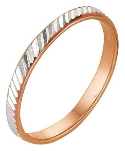 """Кольцо """"Обручальное"""" с алмазной резкой, узкое, позолота, 17,5 размер  Красная пресня"""