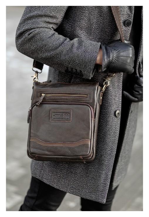 Планшет мужской, отдел на молнии, 2 наружных кармана, длинный ремень, цвет коричневый Xl zolo