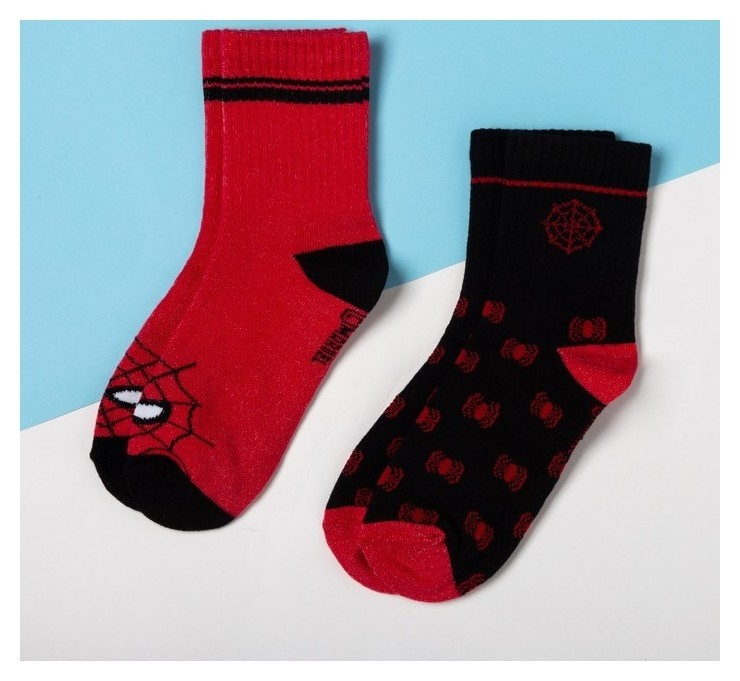 """Набор носков """"Человек-паук"""" 2 пары, красный/чёрный, 14-16 см  Marvel"""